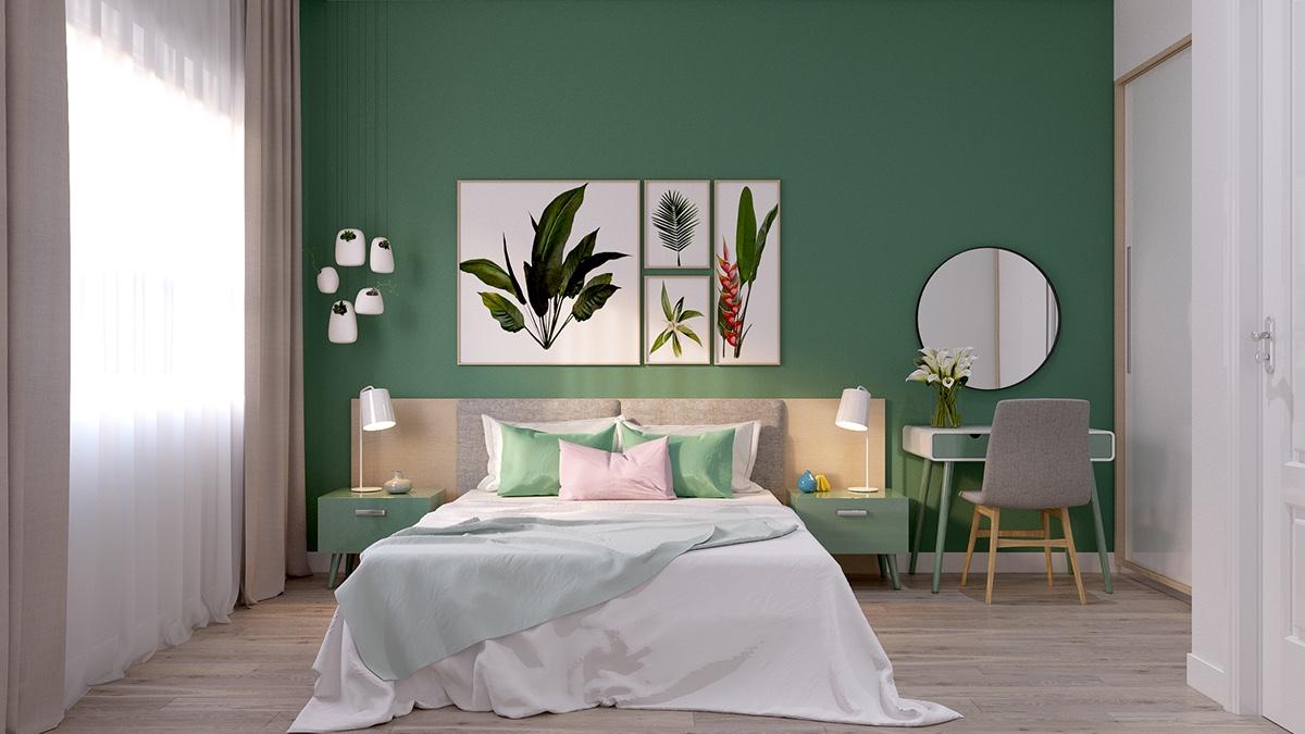 Modernus žalias miegamojo interjeras